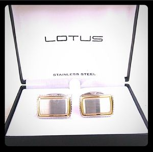 NOS NIB Lotus Stainless Steel Cufflinks